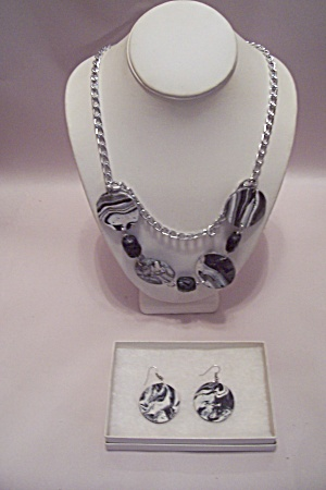 African Silver Chain & Gray/white Disck Necklace Set