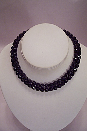Two Strand Black Faceted Glass Bead Necklace