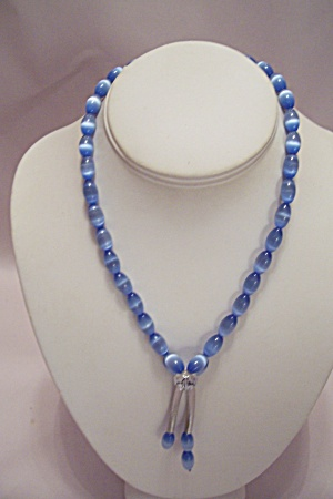 African Made Blue-white Bead Necklace & Earrings Set