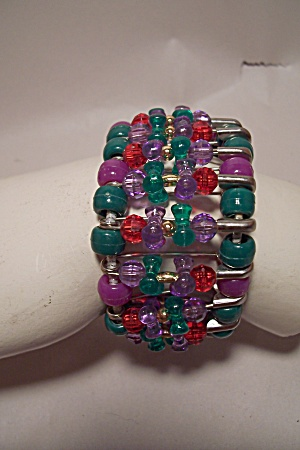 Handcrafted Multi-colored Bead Stretch Bracelet