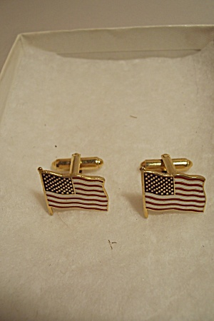 Pair Of Men's Usa Flag Cuff Links