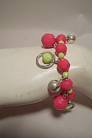 Pink & Green Faceted Bead Stretch Bracelet