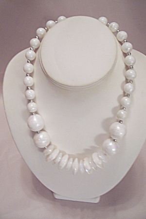 White Opalescent Bead & Disk Necklace