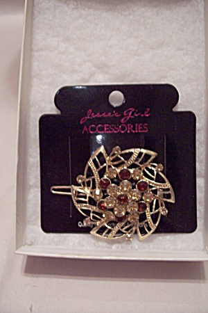 Yellow & Red Rhinestone & Goldtone Hair Accessory