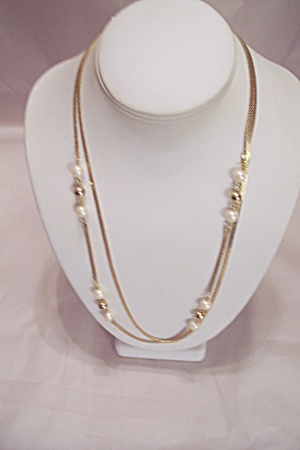 Two Steand Gold Tone Necklace W/pearls & Gold Beads