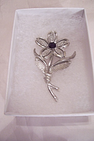 Sarah Coventry Silver Tone & Rhinestone Flower Pin