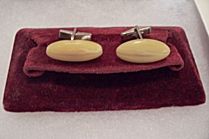 Men's Vintage Oval Celluloid Cuff Links