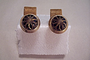 Black Enamel & Gold Plated Mesh Cuff Links (Image1)