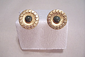 Round Gold Plated With Green Jade Stone Cuff Links (Image1)