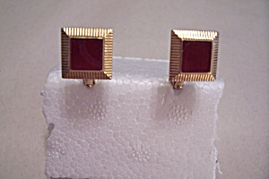 Square Gold Plated Cuff Links With Red Stone (Image1)