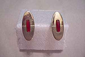 Oblong Gold Plated Cuff Links With Red Stone (Image1)