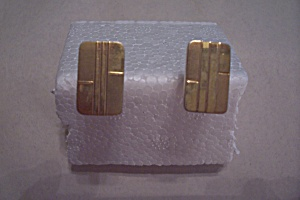 Rectangular Gold Plated Cuff Links (Image1)