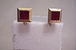 Square Gold Plated Cuff Links With Red Stone