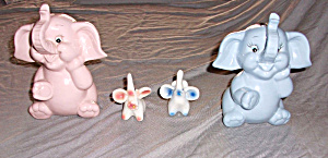 4 ELEPHANTS 2 BLUE 2 PINK (2 ARE FIGURINES 2 ARE BANKS) (Image1)
