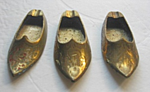 3 Vintage 1960`s Brass Slipper Shoe Ashtrays