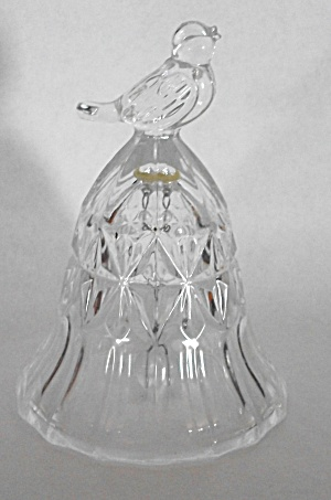 VINTAGE SINGING BIRD CLEAR GLASS BELL (Image1)