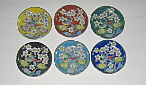 6 VINTAGE 1960`S JAPAN HAND PAINTED FLORAL COASTERS (Image1)