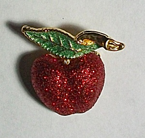 BEAUTIFUL GLITTER CHERRY PINBACK (Image1)
