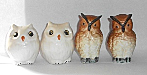 2 Sets Of Owls Salt & Pepper Shakers