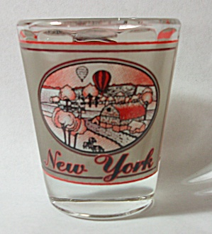 VINTAGE USA # 18 NEW YORK SHOT GLASS INSIDE VERTICAL  (Image1)