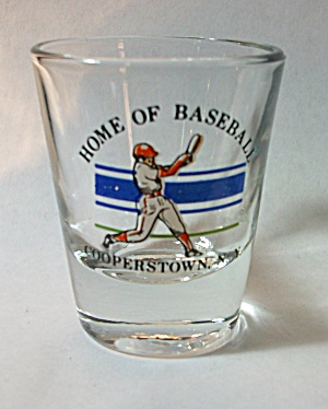 OLD HOME OF BASEBALL COOPERSTOWN NEW YORK SHOT GLASS (Image1)