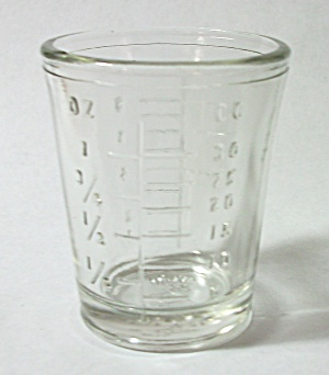 Vintage 1930`s Mosser Embossed Measuring Shot Glass