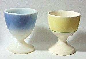OLD 1960`S ENGLAND YELLOW GREEN LINE PORCELAIN EGG CUP (Image1)