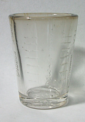 VINTAGE MOSSER EMBOSSED MEASURING / SHOT GLASS (Image1)