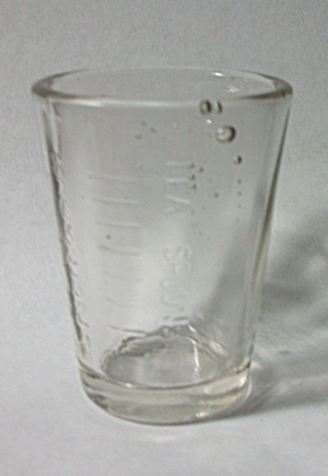 VINTAGE EMBOSSED MEASURING / SHOT GLASS AIR BUBBLES (Image1)