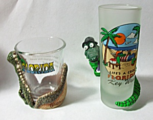 2 Different Florida Shot Glass Single & Shooter