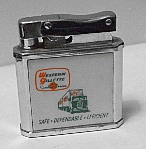 VINTAGE 1960`S BARLOW B 3 ADV. WESTERN GILLETTE LIGHTER (Image1)