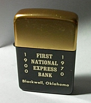 NOS VINTAGE 1970 PARK ADV. FIRST NATIONAL BANK LIGHTER (Image1)