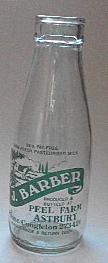 J BARBER PEEL FARM ASTBURY MILK BOTTLE PHONE CONGLESTON (Image1)