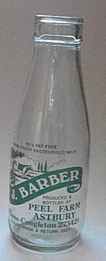 J BARBER PEEL FARM ASTBURY MILK BOTTLE PHONE CONGLESTON (Image1)