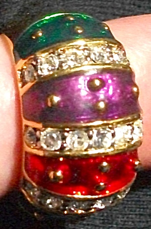 JOAN RIVERS GREEN PURPLE RED BLUE ENAMEL RING (Image1)