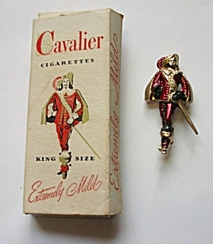 VINTAGE CAVALIER CIGARETTE BROOCH W/BOX (Image1)