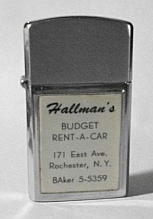 1960`S WARCO ADV. HALLMAN`S RENT A CAR LIGHTER (Image1)