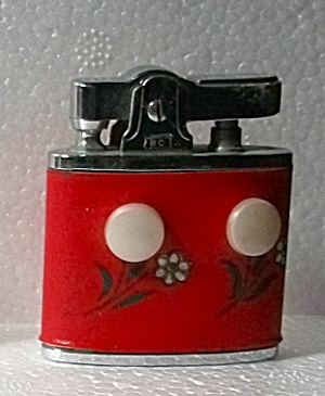 1950`s Mastercrafter Red Faux Leather Floral