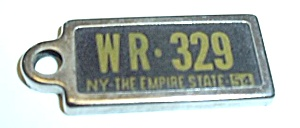 VINTAGE 1954 NEW YORK STATE DAV MINI PLATE (Image1)