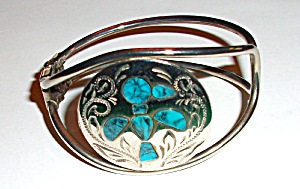 ROMA SILVER PLATE TURQUOISE BRACELET (Image1)