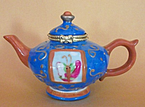HAND PAINTED BUTTERFLY TEAPOT KNICK KNAC RING KEEPER (Image1)