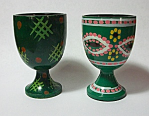 2 DIFFERENT 1950`S GREEN JAPAN EGG HOLDERS (Image1)