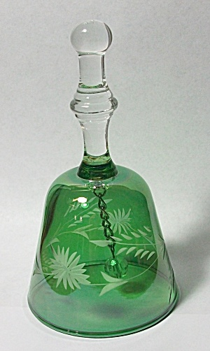 VINTAGE HAND BLOWN CARNIVAL GLASS GREEN  ETCHED BELL (Image1)