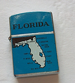 VINTAGE ARIRANG BLUE FLORIDA STATE MAP LIGHTER  (Image1)