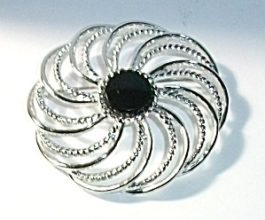 Vintage Sarah Coventry Silver Tone And Black Onyx Color