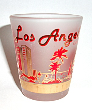 OLD FROSTED LOS ANGELES  CALIFORNIA SHOT GLASS (Image1)