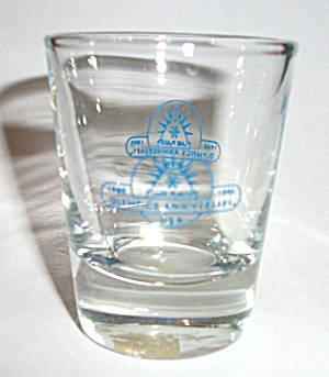 1990 LAKE PLACID ANNIVERSARY SHOT GLASS (Image1)