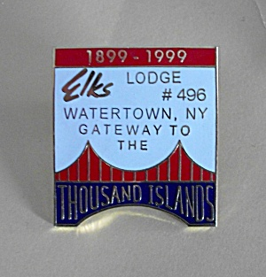 ELKS LODGE # 496 WATERTOWN N.Y.  BICENTENNIAL PIN BACK (Image1)
