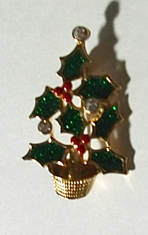 VINTAGE AVON RED & GREEN POINSETTIA PLANT BROOCH (Image1)