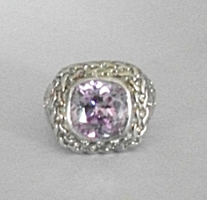 RETRO 925 STERLING SILVER CHAIN LINK AMETHYST RING (Image1)